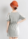 Nouvelles femmes Sexy robe dentelle florale, Drawstring manches courtes taille occasionnels Mini Robe gris/blanc