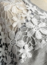 Women Floral Lace Short Sleeve Drawstring Waist Mini Dress