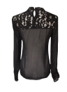Women See-through Crochet Lace Chiffon Patchwork Shirt