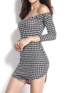 Sexy Houndstooth Print Off Shoulder 3/4 Sleeve Side Slit Club Bodycon Dress