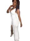 Сексуальные женщины повязку платье глубокий V шеи Сплит Подол рукавов сплошной цвет ночной клуб партии Bodycon Платье белое