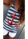 Nuova moda donna canotta paillettes ancoraggio a righe modello gilet senza maniche camicetta Casual t-shirt