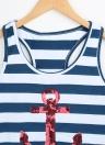 Fashion Sequin Anchor Stripe Pattern Sleeveless Tank Top
