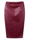 Europa mujeres Sexy falda PU cuero Color sólido Midi lápiz faldas OL Casual Slim Clubwear café