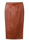 PU Leather Solid Color Midi Pencil Skirt