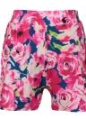 Neue Frauen passen zwei Stücke Blumendruck gekerbten Kragen, lange Ärmel Blazer Shorts Pants lässige Twin Rose setzen