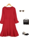 Fashion Round Neck 3/4 Sleeve Back Zipper Solid Mini Flare Skater Dress