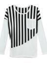 Neue Fashion Damen T-Shirt gestreift Patchwork Chest Pocket langarm lässig Bluse Tops Tee weiß/schwarz