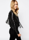New Fashion Women Tassel Fringe Jacket PU Leather Long Sleeve Slim Biker Motorcycle Coat Top Black