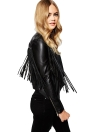 New Fashion Women Tassel Fringe Jacket PU Leather manga comprida Slim Biker Motorcycle Coat Top Preto