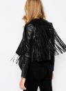 Новая мода женщин Tassel Fringe куртка Кожа PU с длинным рукавом Slim байкер Мотоцикл пальто Топ черный