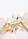 Fashion femmes Lady or métal chaîne ceinture fleur embellissement taille élastique bracelet ceinture drapée All-Match or