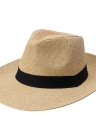 Unisex Panama Contrast Ribbon Pinched Crown Rolled Trim Beach Cap