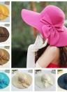 Nova moda mulheres, chapéu de palha aba larga arco dobrável sol praia Cap
