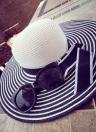 Мода женщин соломы солнце шляпа Wide краев полосы лук дискеты Cap летом пляж Богемии для волос черный