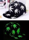 Nueva moda hombres mujeres gorra hojas de impresión luminosa Glow hip-hop Cap Snapback sombrero
