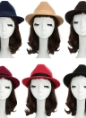 Women Wool Fedora Trilby Hat Pinched Crown Band Rhinestone Felt
