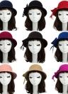 Nova moda mulheres Fedora chapéu Bowknot decoração lã sentiu Bowler Derby Hat Cap