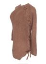 Sexy Winter Women Lace Up O Neck Long Sleeve Split Knitwear