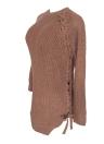 Maglieria spessa a maniche lunghe da donna sexy invernale con lacci o collo