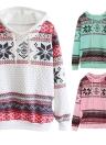 Moda donna fiocco di neve con cappuccio stampa manica lunga Pullover Natale felpa Sportwear bianco/rosa/verde