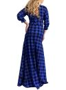 Manga comprida em xadrez, tamanho maior, vestido casual, túnica, vestido maxi