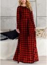 Plaid Long Sleeve Plus Size Casual Check Tunic Maxi Dress