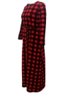 Plaid Long Sleeve Plus Size Casual Check Tunic Maxi Dress
