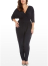 Women Plus Size Jumpsuit V Neck Batwing Sleeve High Waist