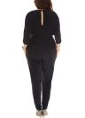 Mulheres Plus Size Jumpsuit V Neck Batwing Sleeve High Cintura