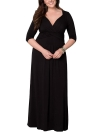 Solid Color Deep V Three Quarter Sleeve Ruching Women Maxi Dress