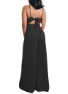 Frauen Wide Leg Jumpsuit Open Back hohe Taille beiläufige Playsuit Strampler