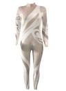Jersey de cuello alto con estampado de mujeres de manga larga