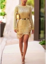 Женщины Sheer Knit Bodycon Mini Dress Hollow Out Clubwear Party Bandage Dress
