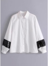 Women Sequins Shirt Turn-Down Collar Long Sleeve Casual Loose Blouse