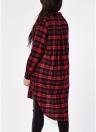 Camisa de xadrez tamanho grande túnica de verificação casual camisa longa