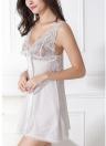 Женская кружевная шелковая атласная ночная рубашка с ремешком для спагетти