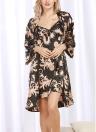 Платье с длинными рукавами из атласа