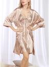 Vestido de cetim Vintage Print Slip Cardigan para Mulheres com pijama