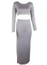 Femmes Crop Top Long Jupe Long Sleeves High Cut Fente Deux Pièces