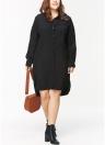 Plus Size Long Sleeves Button Down High-Low Hem Women Shirt Dress