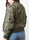 Camuflagem Baseball Zipper Front Long Sleeve Bomber Jacket