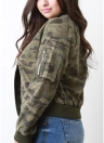 Camuflagem Baseball Zipper Front Long Sleeve Bomber Jacket