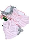 Шелковый атлас вязания крючком кружева без рукавов V-образным вырезом Pajama Set