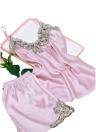 Conjunto de pijama de cuello en V sin mangas de encaje satinado de seda