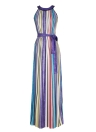 Stripe Contrast Halter Neck Sleeveless Women Maxi Dress