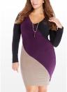 Women Dress Plus Size Contrast Color Block Patchwork  Long Sleeve Bodycon  One-Piece