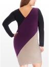 Vestido feminino, tamanho grande, contraste, bloco de cor, patchwork, manga comprida, corpo inteiro, um pedaço