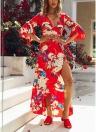 Femmes Floral enveloppé Maxi Dress Tie taille évasée manches Split Party Dress