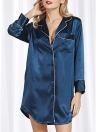 Les femmes pyjamas en satin de robe de chemise de soie renversent des vêtements de nuit à manches longues de col